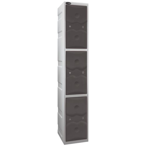Ultrabox Plastic Locker 3 Door With Water Proof Cam Lock And 2 Keys Standard Duty Light Grey Body &Grey Doors