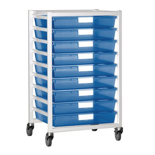 Tray Storage Unit 9 Tray Tinted Blue A3 550X455X1035 White Frame