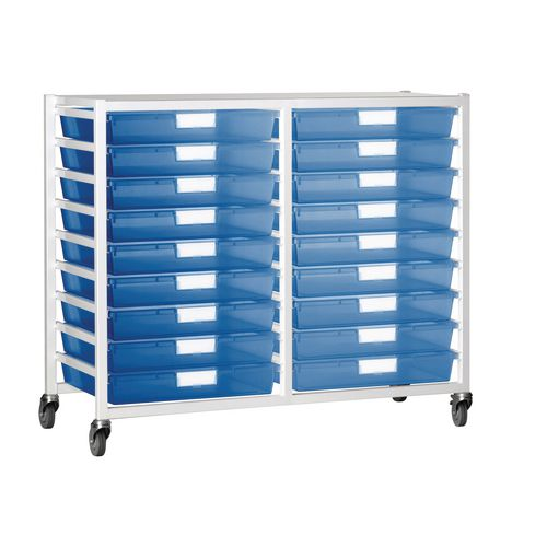 Tray Storage Unit 18 Tray Tinted Blue A3 1060X455X1035 White Frame