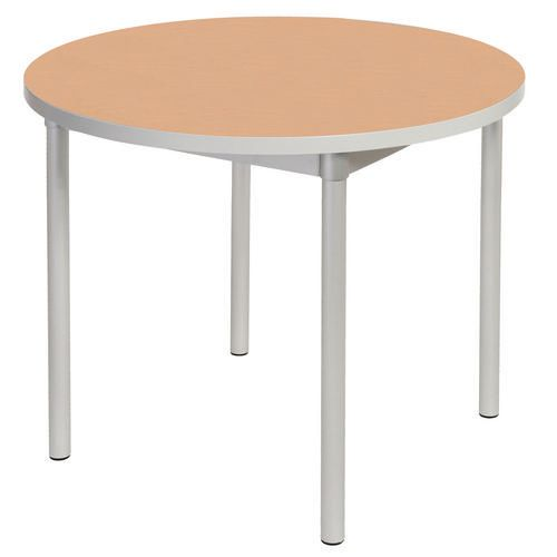 Enviro Circular Canteen Table Dia1200xH710mm Beech - Lightweight, Strong &Robust. Aluminium Frame with Wipe Clean Laminate Surface