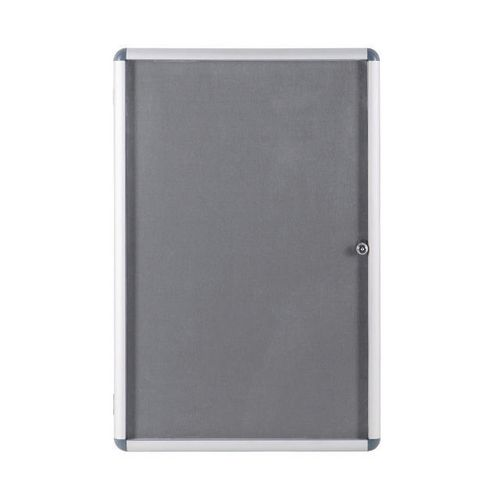 Economy Lockable Grey Felt Noticeboard 600mmx900mm