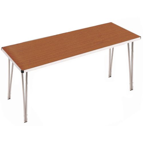 Aluminium Canteen Folding Table Teak Laminate Table Top W1830xD685xH698mm - Strong, Lightweight and Simple To Fold