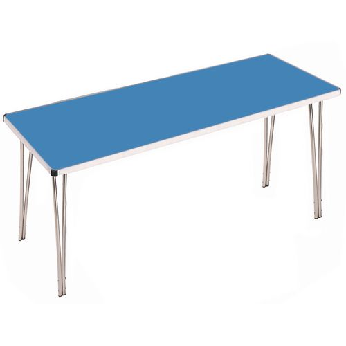 Aluminium Canteen Folding Table Blue Laminate Table Top W1520xD685xH698mm - Strong, Lightweight and Simple To Fold