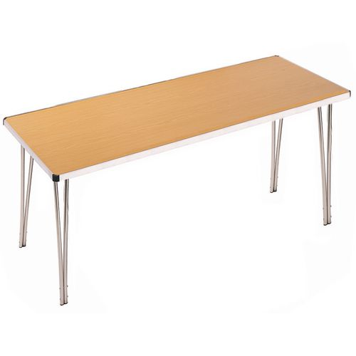Aluminium Canteen Folding Table Oak Laminate Table Top W1830xD685xH760mm - Strong, Lightweight and Simple To Fold