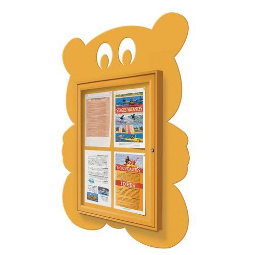 """School Fun"" Teddy Bear Notice Board 4xA4 Notice Board External Dimensions: H 750x550mm Painted Yellow"