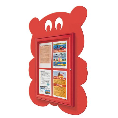 """School Fun"" Teddy Bear Notice Board 4xA4 Notice Board External Dimensions: H 750x550mm Painted Red"