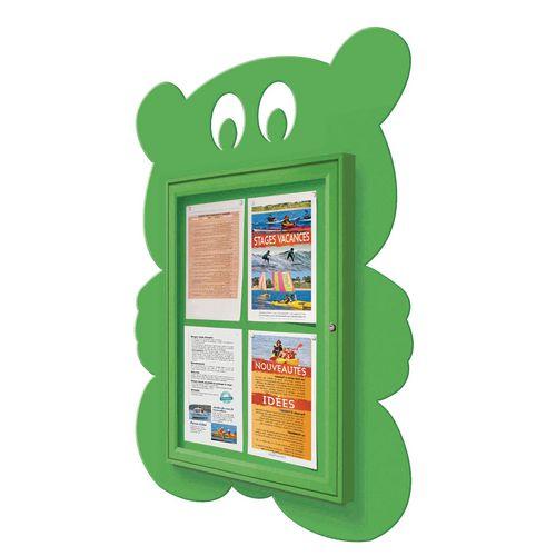 """School Fun"" Teddy Bear Notice Board 4xA4 Notice Board External Dimensions: H 750x550mm Painted Green"