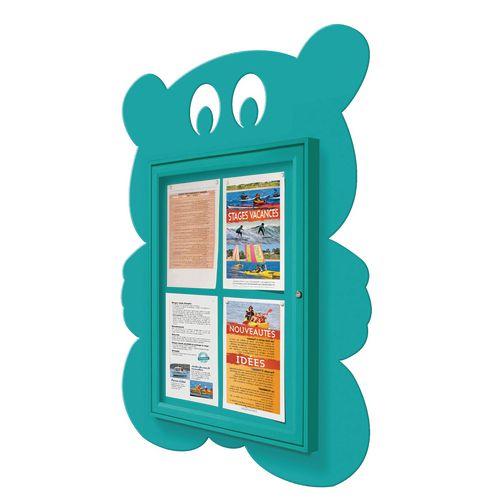 """School Fun"" Teddy Bear Notice Board 4xA4 Notice Board External Dimensions: H 750x550mm Painted Turquoise"
