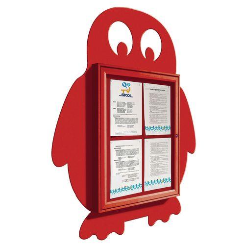 """School Fun"" Penguin Notice Board 4xA4 Notice Board External Dimensions: H 750x550mm Painted Red"
