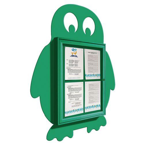 """School Fun"" Penguin Notice Board 4xA4 Notice Board External Dimensions: H 750x550mm Painted Green"