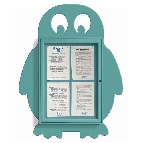 """School Fun"" Penguin Notice Board 4xA4 Notice Board External Dimensions: H 750x550mm Painted Turquoise"