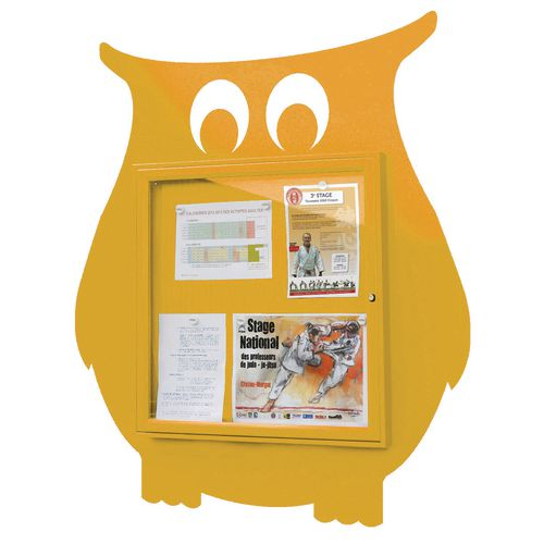 """School Fun"" Owl Notice Board 6xA4 Notice Board External Dimensions: H 750x750mm Painted Yellow"