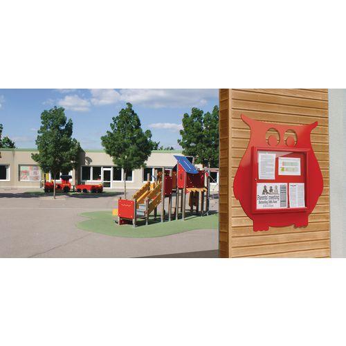 """School Fun"" Owl Notice Board 6xA4 Notice Board External Dimensions: H 750x750mm Painted Red"