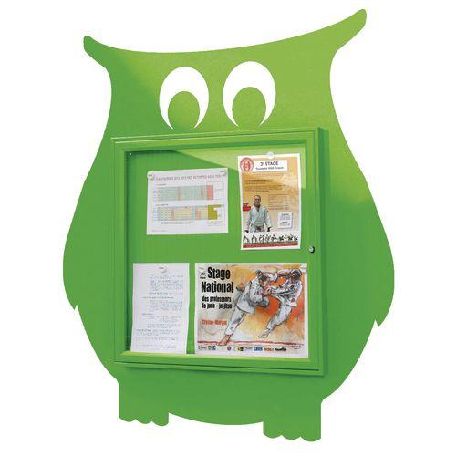 """School Fun"" Owl Notice Board 6xA4 Notice Board External Dimensions: H 750x750mm Painted Green"
