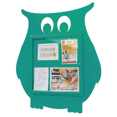 """""""School Fun"""" Owl Notice Board 6xA4 Notice Board External Dimensions: H 750x750mm Painted Turquoise"""