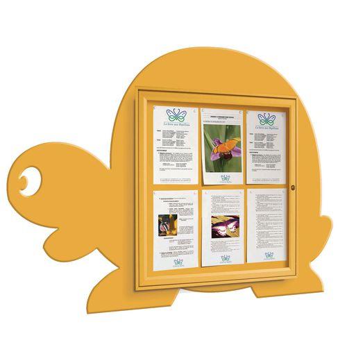 """School Fun"" Tortoise Notice Board 6xA4 Notice Board External Dimensions: H 750x750mm Painted Yellow"