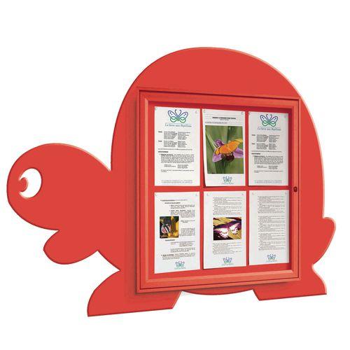 """School Fun"" Tortoise Notice Board 6xA4 Notice Board External Dimensions: H 750x750mm Painted Red"