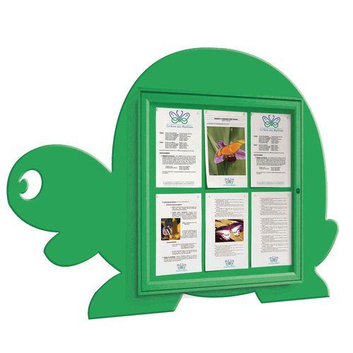 """School Fun"" Tortoise Notice Board 6xA4 Notice Board External Dimensions: H 750x750mm Painted Green"