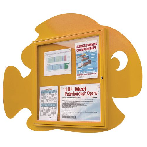 """""""Water Fun"""" Fish Notice Board 6xA4 Notice Board External Dimensions: H 750x750mm Painted Yellow"""