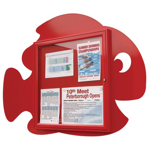 """""""Water Fun"""" Fish Notice Board 6xA4 Notice Board External Dimensions: H 750x750mm Painted Red"""
