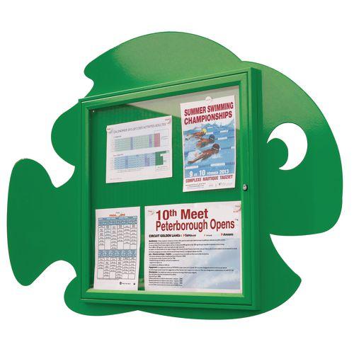 """Water Fun"" Fish Notice Board 6xA4 Notice Board External Dimensions: H 750x750mm Painted Green"