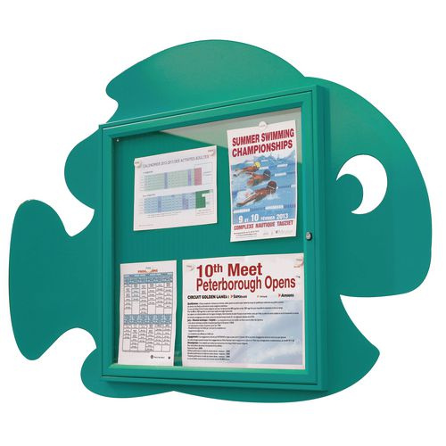 """""""Water Fun"""" Fish Notice Board 6xA4 Notice Board External Dimensions: H 750x750mm Painted Turquoise"""
