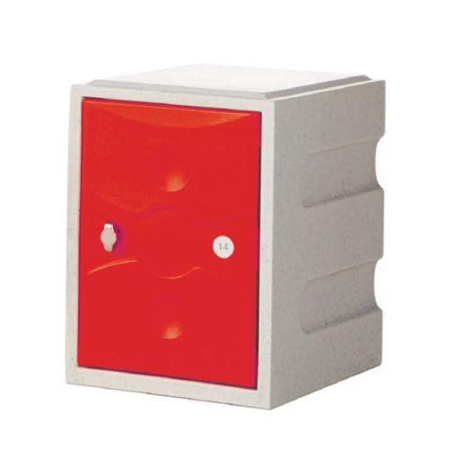 1 Door Mini Plastic Locker Standard Grey Body Red Door