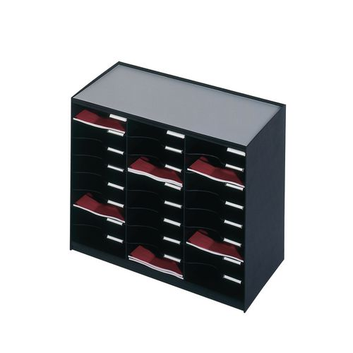 24 Compartment Mailsorter Black For A4 Literature With Label Holders And Labels