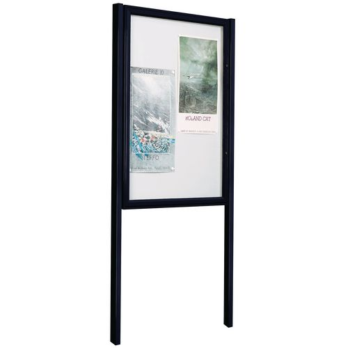 Painted Tradition Outdoor Notice Board 30mm Profile 6/A4 H 750X750mm + Pair Of Painted Posts Black