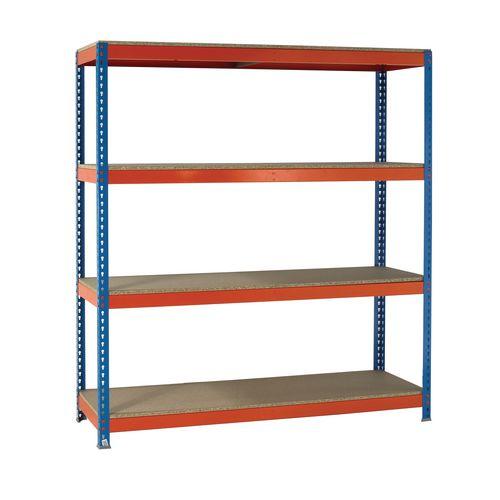 2m High Heavy Duty Boltless Chipboard Shelving Unit W2400xD1200mm 350kg Shelf Capacity With 4 Shelves - 5 Year Warranty