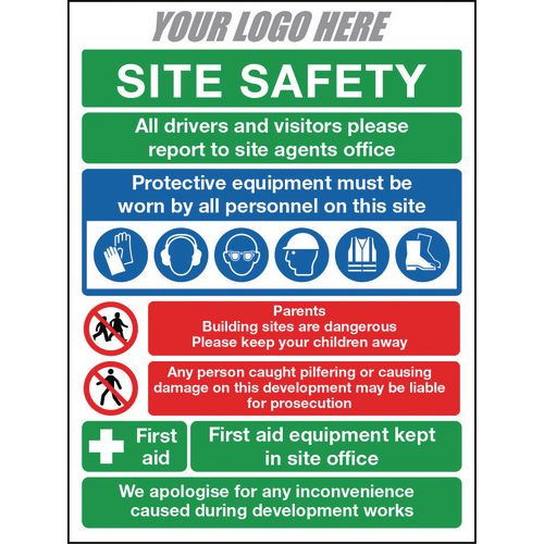 Site Safety Sign 800X600mm 10mm Correx