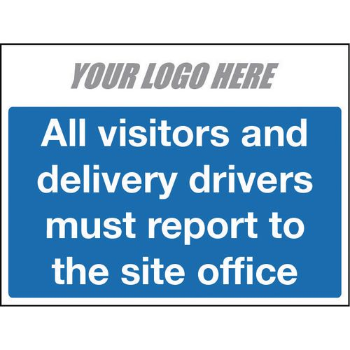 All Vistors And Delivery Drivers Sign 400X300mm 4mm Correx