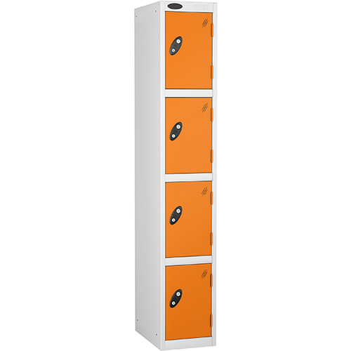 4 Door Locker D:457mm White Body &Orange Door