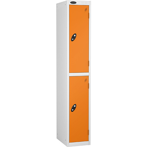 2 Door Locker D:305mm White Body &Orange Door