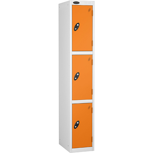 3 Door Locker D:305mm White Body &Orange Door