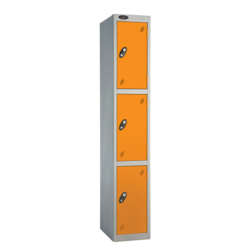 3 Door Locker D:457mm Silver Body &Orange Door
