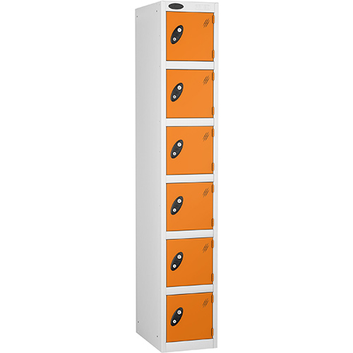 6 Door Locker D:457mm White Body &Orange Door