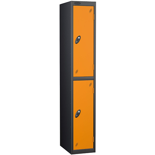 Black Body Locker 12x18 Two Orange Doors