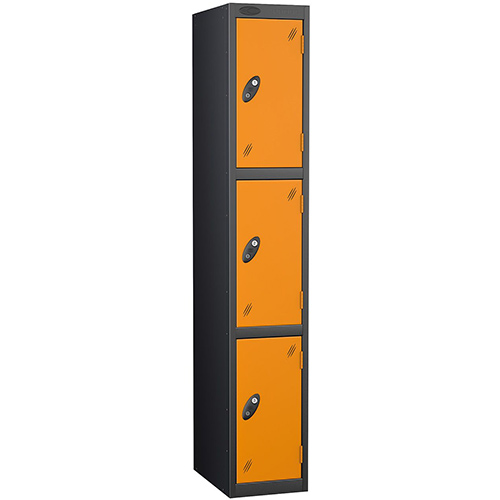 Black Body Locker 12x18 3 Orange Doors
