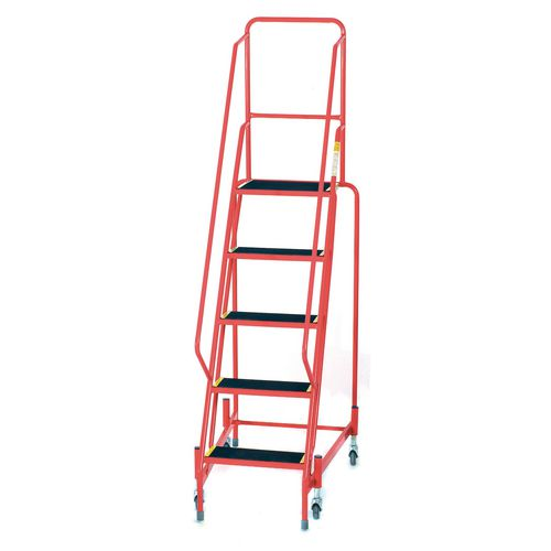 Mobile Step 5 Tread With Full Handrail Red