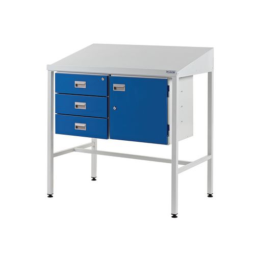 Sloping Top Teamleader Workstation With Triple Drawer &Single Drawer 1060.1000.460