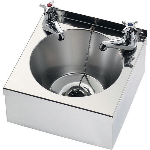 Franke Sissons Wash Basin With Waste Kit And Cross Head Basin Taps 290X290X157mm