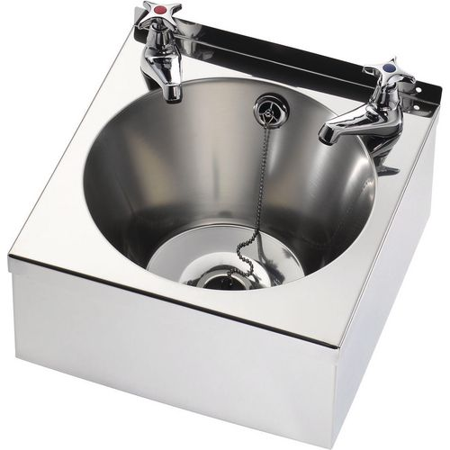 Franke Sissons Wash Basin With Waste Kit And Cross Head Basin Taps 340X345X185mm