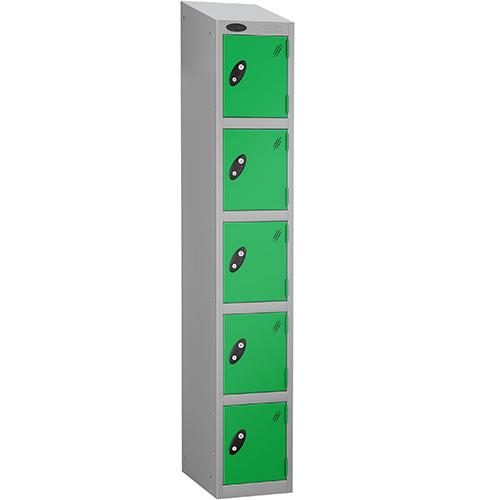 Colour Door Locker With Sloping Top 5 Door Depth 305mm Silver Body &Green Door