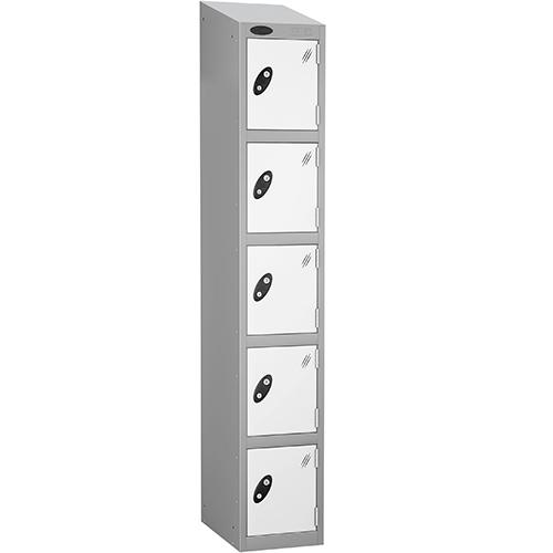 Colour Door Locker With Sloping Top 5 Door Depth 305mm Silver Body &White Door