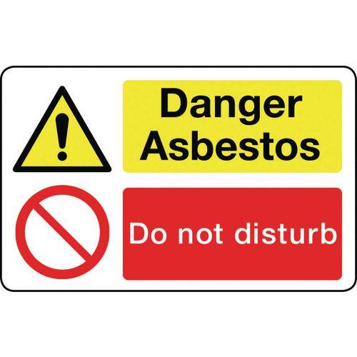 Sign Danger Asbestos 300X200 Vinyl  Asbestos Acm'S - Danger Asbestos Do Not Disturb