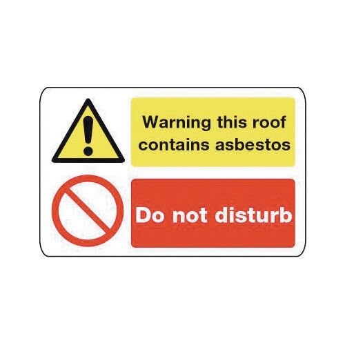 Sign Warning This Roof Contains 600X200 Vinyl