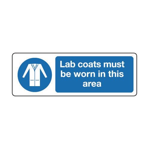 Sign Lab Coats Must Be Worn 300x100 Vinyl Self-Adhesive Vinyl 300x100 mm