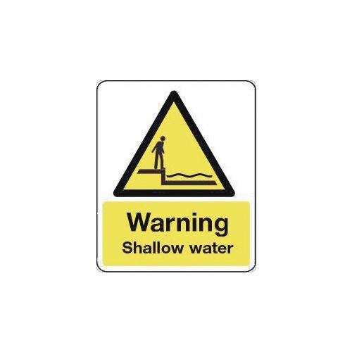 Sign Warning Shallow Water 600X200 Vinyl