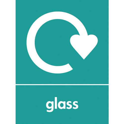 "Recycling Sign ""Glass"" Self-Adhesive Vinyl 150x200mm"